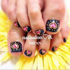 Pretty pedicure- black polish with pink jewel heart and gold beads ++++++Check Out+++++++ toyastoystore.com for party planning ideas and fun stuff ;)