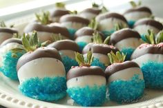 blue sprinkled, chocolate dipped strawberries for boy baby shower