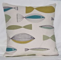 """Handmade 16ins Cushion/Pillow Cover in John Lewis UK Retro 1950's Fish/Nautical Green and Blue on Creamy Background Design Fabric """""""