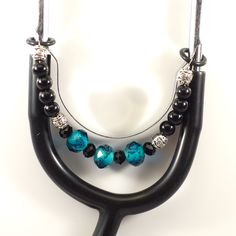 Women's Beaded Stethoscope Charm Teal and Black with Silver Accents by DungleBees on Etsy