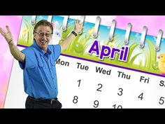 This April calendar song teaches about the month of April. Sing along and learn that April is the month of the year. Learn how to spell April. April has . Calendar Songs, Calendar Time, Kids Calendar, Months Song, Months In A Year, School Songs, School Videos, Music For Kids, Kids Songs