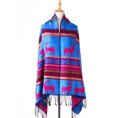Echarpes Foulards Desigual Femme 2015 Woman Winter Thicken Ethnic Elk  Blanket Scarf Ladies Pashmina Shawls- d95abdae3f2