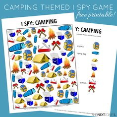 Free camping themed I Spy game for kids from And Next Comes L