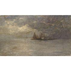 Guglielmo Ciardi (Venezia 1842 - 1917) , temporale sulla lag
