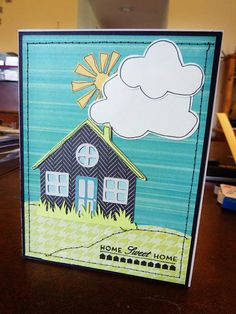 Houses Built of Cards: Inspiration Challenge - Built a House! Cricut cartridges used: House from Kate's ABC's, hills from Country Life, grass from Zoobaloo, sunshine from Give a Hoot, and clouds from Pooh and Friends.