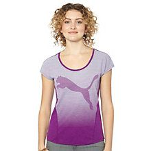 With its boat neckline and subtle striping print, this T-shirt is casual, comfy, and just a little bit sporty.  Features:   60% Cotton, 40% modal  Boat neckline  Contrast side panels  Oversize PUMA Cat Logo center front with striped print