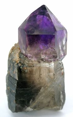 Amethyst on Smoky Quartz from Montana