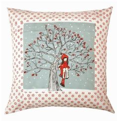 Belle & Boo My Favourite Spot Winter Cushion Little Yellow Bird, Yellow Birds, Vintage Christmas, Christmas Time, Belle And Boo, Winter Songs, Embroidered Cushions, Printed Cushions, Winter Trees