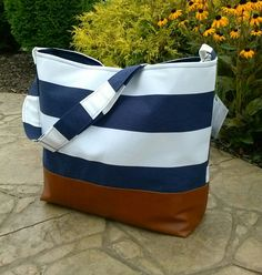 Hey, I found this really awesome Etsy listing at https://www.etsy.com/listing/200522939/stripe-navyivory-messenger-bag-made-with