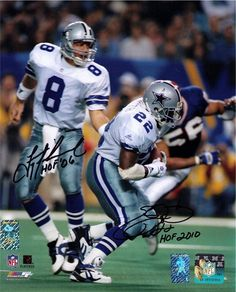 Emmitt Smith Troy Aikman Signed Dallas Cowboys 8x10 Photo HOLO's