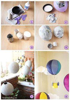 DIY hot air balloon decoración - New Site Diy Hot Air Balloons, Papier Diy, Diy And Crafts, Paper Crafts, Paper Mache Crafts For Kids, Balloon Crafts, Creation Deco, Middle School Art, Art Activities