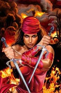 Elektra Natchios - The BADDEST Bitch of Marvel! Elektra has always been my favorite comic book character because we are very similar. Our signature color is red and she wields the bladed twin sai, my favorite martial arts weapon! The ninja assassin is also an Olympic-level athlete (A FELLOW GYMNAST!) and her attitude tends to get her in trouble...alot! She is the most lethal woman and one of the most cold-blooded characters in the Marvel Universe, killing more men than any other character. They most likely deserved it. <3 HER!