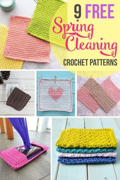 9 Crochet Patterns to Get You Pumped for Spring Cleaning - Just Be Crafty. Quick and easy, you will have a stack of cleaning supplies whipped up in no time! Crochet Kitchen, Crochet Home, Free Crochet, Knit Crochet, Crochet Dishcloths, Tunisian Crochet, Crotchet Stitches, Textured Yarn, Crochet Patterns For Beginners
