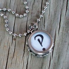 interrobang typewriter key necklace