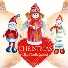 Christmas clipart Watercolor Christmas clipart by MyStudioGeneva #Christmas clipart #Watercolor Christmas