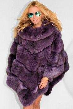 ** Mulberry Saga Fox Fur Poncho