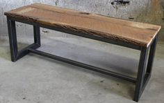 Reclaimed wood live edge rectangular steel tube frame by 3DUnique, $525.00