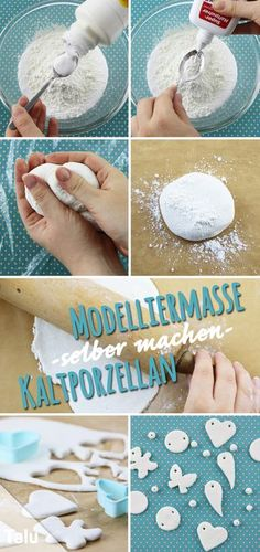 Make modeling clay yourself - Instructions & ideas for cold porcelain - Talu.de - Make modeling clay yourself – cold porcelain – Talu. Clay Crafts For Kids, Diy Crafts To Sell, Arts And Crafts, Felt Crafts, Clay Christmas Decorations, Christmas Crafts, Christmas Trees, Thanksgiving Crafts, Diy Clay
