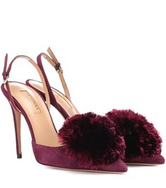 Powder Puff 105 Suede Slingback Pumps by Aquazzura Dark Look, Powder Puff, Slingback Pump, After Dark, Aquazzura, Bag Making, Luxury Branding, Stiletto Heels, Peep Toe