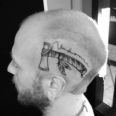 Photo by (chhyeahrokee) on Instagram | #axetattoo #headtattoo #headtattoos #inkee