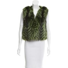 Pre-owned Jocelyn V-Neck Fur Vest ($295) ❤ liked on Polyvore featuring outerwear, vests, black, v-neck vest, colorful vest, pocket vest, fur vests and fur waistcoat