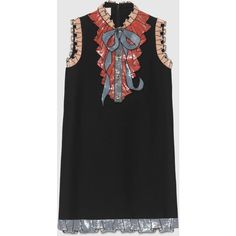 Gucci Silk Cotton Embroidered Dress (£2,270) ❤ liked on Polyvore featuring dresses, gucci, cotton, ready to wear, women, embroidered cotton dress, multi colored dress, knee length sequin dress, silk cotton dress and button dress