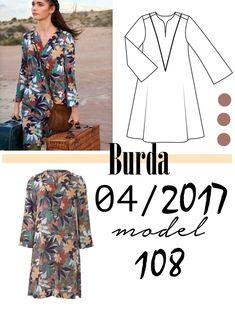 Sukienka z falbaną uszyta z wykroju Burda 04/2017 model 108