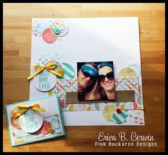 January Stamp Club Projects- Sale-A-Bration Scrapbook page featuring Best Day Ever Stamp Set and Best Year Ever DSP. http://pinkbuckaroodesigns.blogspot.com/2015/01/january-stamp-club-projects.html