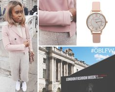 We love the soft, sophisticated palette of this outfit - perfect when teamed with our Dusty Pink and Rose Gold Wonderland watch <3 #OBLFW