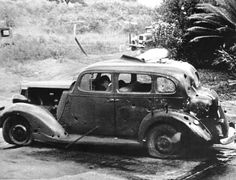 Eight miles from Pearl Harbor, shrapnel from a Japanese bomb riddled this car and killed three civilians in the attack. The Navy reported there was no nearby military target.