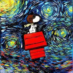 """""""van Gogh Never Faced The Red Baron, 12x12 inches oil on canvas. Original #painting and prints snoopy  available for purchase at the link to my shop in my profile.…"""""""