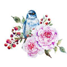 Aves em aquarela bom raster — Imagem de Stock #91533924
