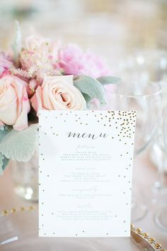 Classic St. Louis Wedding, White and Gold Dinner Menu