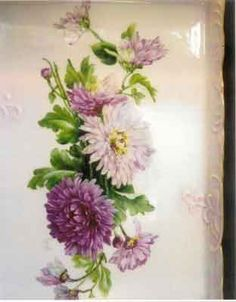 Painting of pink, ruby, and light pink mums on porcelain by porcelain artist and china painting teacher, Jane Wright.