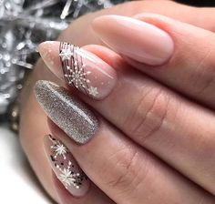 Soft gun metal silver and nude nail polish with winter spidergel nail art ❤. - Soft gun metal silver and nude nail polish with winter spidergel nail art ❤🏆❤ You are in the - Xmas Nails, Holiday Nails, Christmas Nails, Christmas Lights, Diy Christmas, Nagellack Design, Nagellack Trends, Classy Nails, Stylish Nails