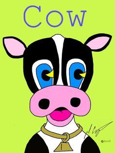 Children's Pop Art Print Cow by domczepiga on Etsy, $25.00