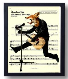 Singing Fox with Guitar Music Page Book Art Birthday by MoonlitSol