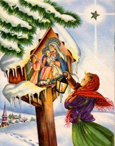 Polonia, cartão de natal, presépio