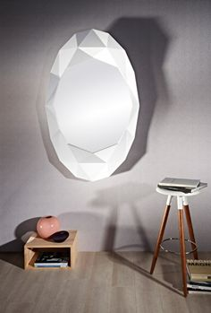 Creating optical refractions of light across the room, this beautiful cut-glass mirror gives the appearance of a precious jewel along your wall. Both functional and stunning, the Precious White mirror is a classically decorative design suited to any st Contemporary Decor, Modern Decor, Refraction Of Light, White Mirror, Mirror Mirror, Cut Glass, Wall, Designer Mirrors, Furniture