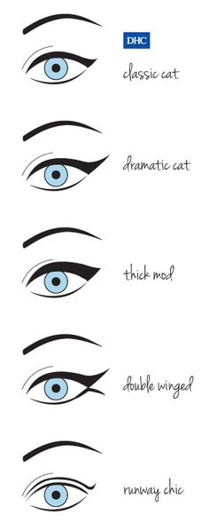 "5 ways to ""wing it"" for a perfect cat eye look. ...And all of them are gorgeous. :) I typically do the dramatic cat eye, but I wouldn't mind branching out. ;)"