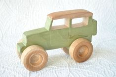 Handmade, all-natural, wooden toy Toyota FJ40 Cruiser $14.