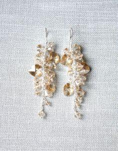 Golden Crystal Earrings, Trink Jewerly