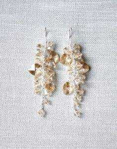 Golden Crystal Earrings, Trink Jewerly