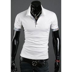 Turn Down Collar Short Sleeves Solid Color T-Shirt For Men