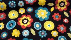 *♥Stoff ♥Blumen bunt fröhlich ♥ auf dunkelblau*Baumwolle    Wunderschöner Stoff für deine/Ihre kreative Zeit ob Taschen, Kleidung oder oder...    *...