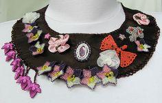 thick bordeaux satin necklace.....