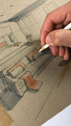 Interior Architecture Drawing, Drawing Interior, Watercolor Architecture, Interior Design Sketches, Sketch Design, Art Folder, Perspective Drawing, Pencil Art Drawings, Technical Drawing