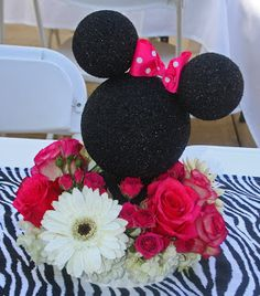 Para centro de mesa de Minnie Mouse.  Fiestas infantiles |. ¡Disfrutando