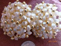 Gorgeous Cluster Faux Pearl Bead Clip Earrings by PhiasJewels