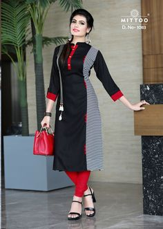 Rayon Kurti in Black Color. This Readymade piece is Enhanced with Resham Hand thread and Patch Border (Edge) Work and is Crafted in Chinese collar Neck and Quarter Sleeves The Kurti Length is 45 inches and may vary upto 2 inc Latest Salwar Kameez Designs, Kurta Designs Women, Dress Neck Designs, Blouse Designs, Fancy Kurti, Kurta Neck Design, New Party Dress, Kurti Patterns, Kurti Designs Party Wear